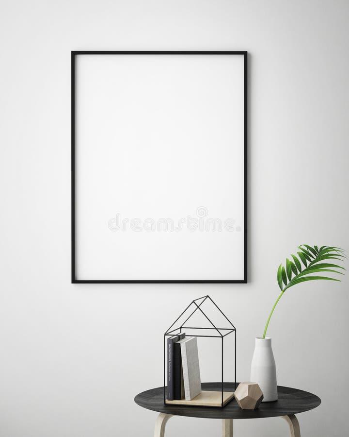 Глумитесь вверх по рамке плаката в предпосылке с светлыми письмами, скандинавском стиле битника внутренней, 3D представьте иллюстрация штока