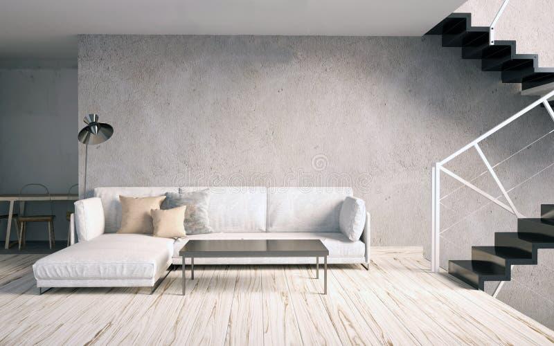 Глумитесь вверх по стене в интерьере с лестницами и софой hipst живущей комнаты иллюстрация вектора