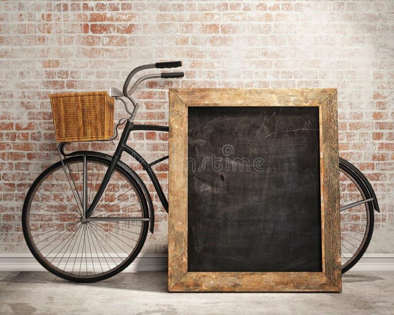 Глумитесь вверх по черной доске в предпосылке просторной квартиры внутренней с велосипедом иллюстрация вектора