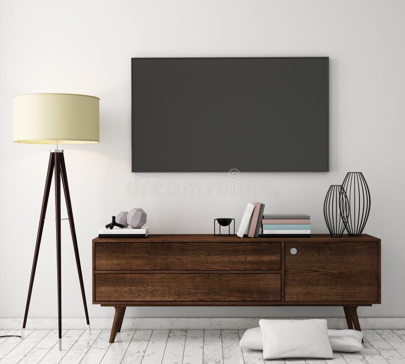 Глумитесь вверх по экрану ТВ с винтажной предпосылкой интерьера просторной квартиры битника