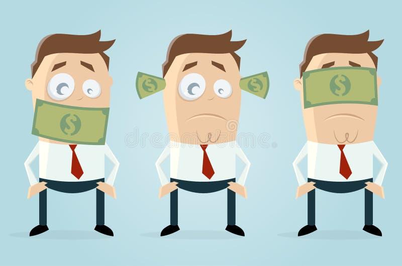 Глухие тупые слепые бизнесмены с бумажными деньгами доллара иллюстрация вектора