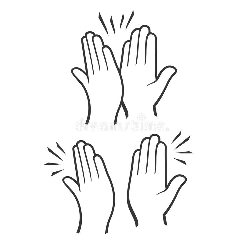 Давать 2 рук высокие 5 установленных значков вектор иллюстрация вектора