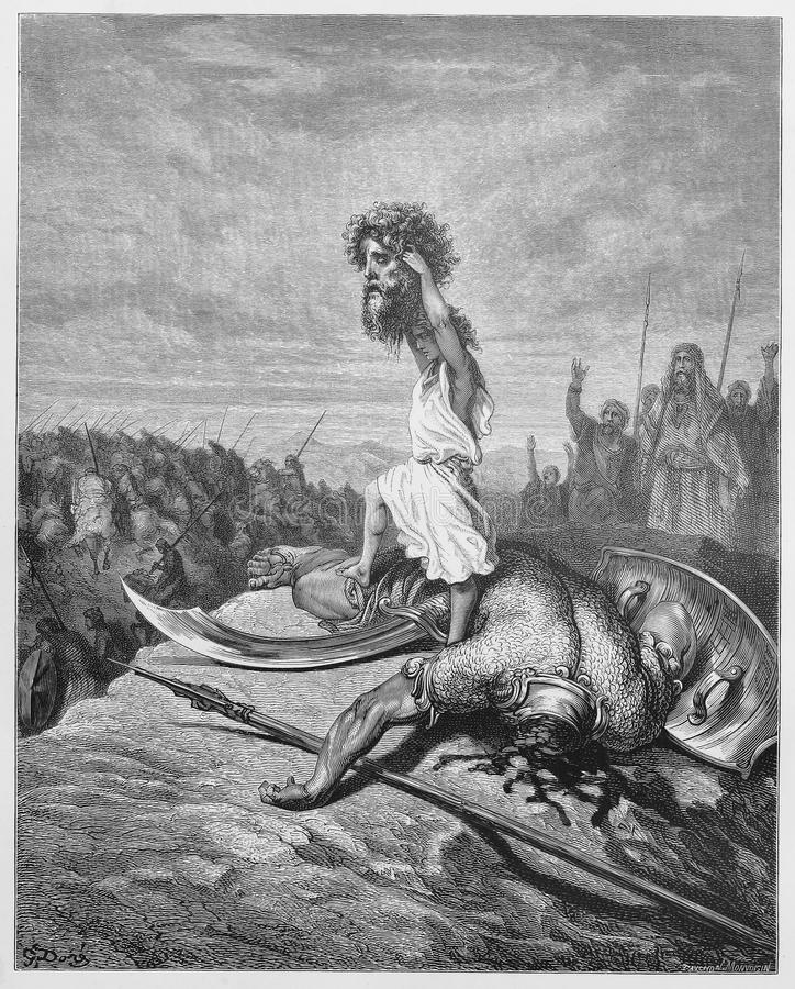 Давид сражает Голиаф иллюстрация штока