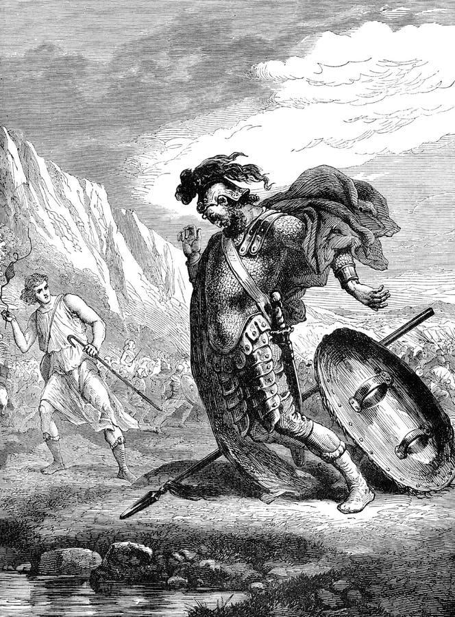Давид goliath иллюстрация штока