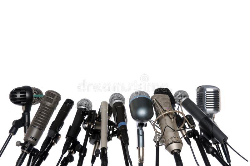 давление микрофонов конференции стоковые фото
