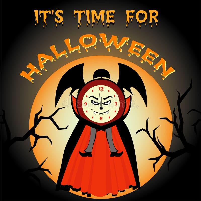 Давно пора на хеллоуин Часы зла шаржа бесплатная иллюстрация