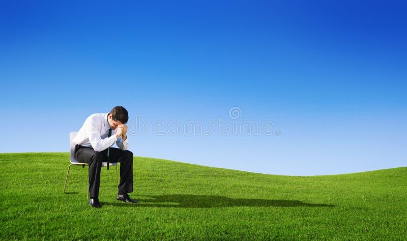 Давления бизнесмены концепции тоскливости попробованной стрессом стоковая фотография