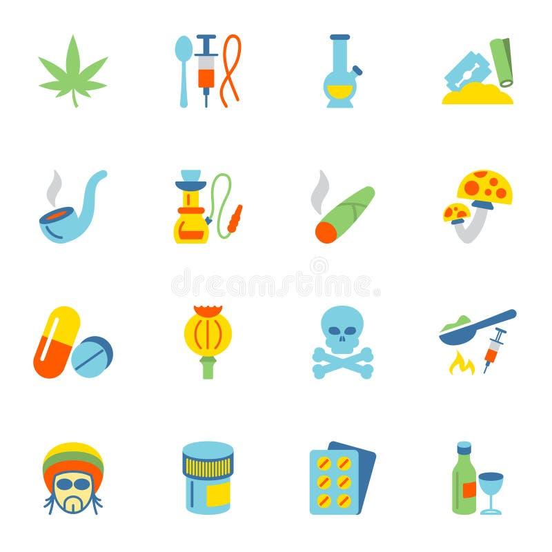 Дает наркотики значкам плоско бесплатная иллюстрация
