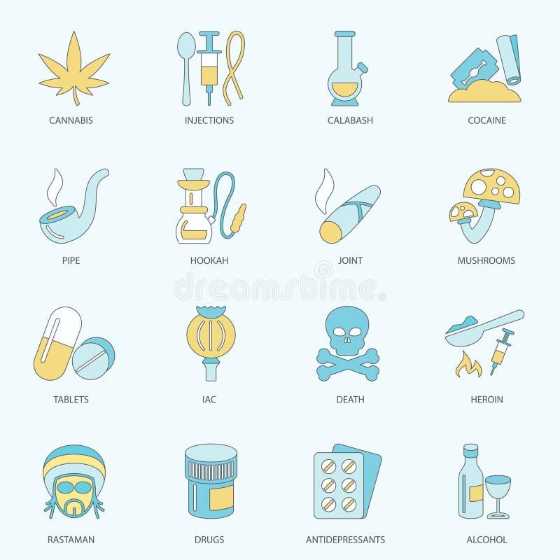 Дает наркотики линии значков плоской иллюстрация штока