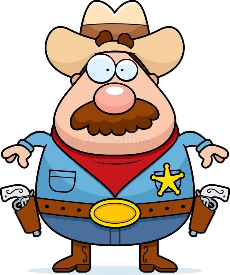 дает полный газ шерифу иллюстрация вектора