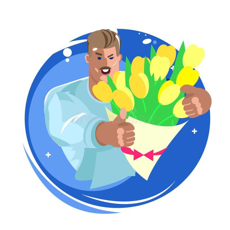 Доставка цветка дает свежие цветки зверский человек в руках желтых тюльпанов иллюстрация вектора
