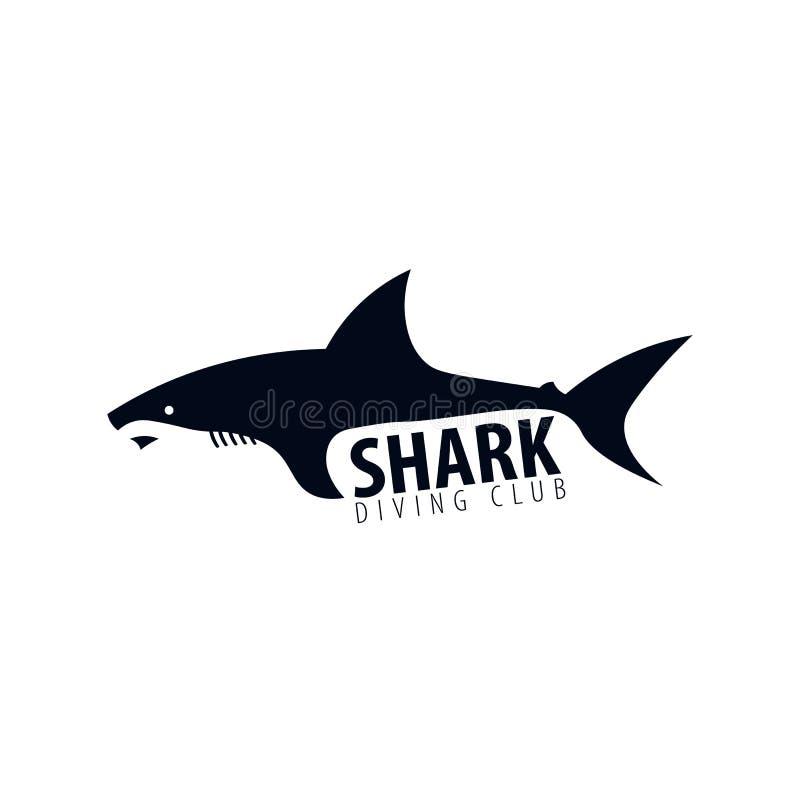 Дайвинг-клуб Эмблема или логотип с акулой также вектор иллюстрации притяжки corel иллюстрация вектора
