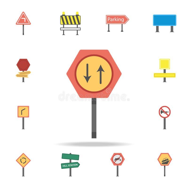 Дайте значок покрашенный путем Детальный набор значков дорожного знака цвета Наградной графический дизайн Один из значков собрани иллюстрация вектора