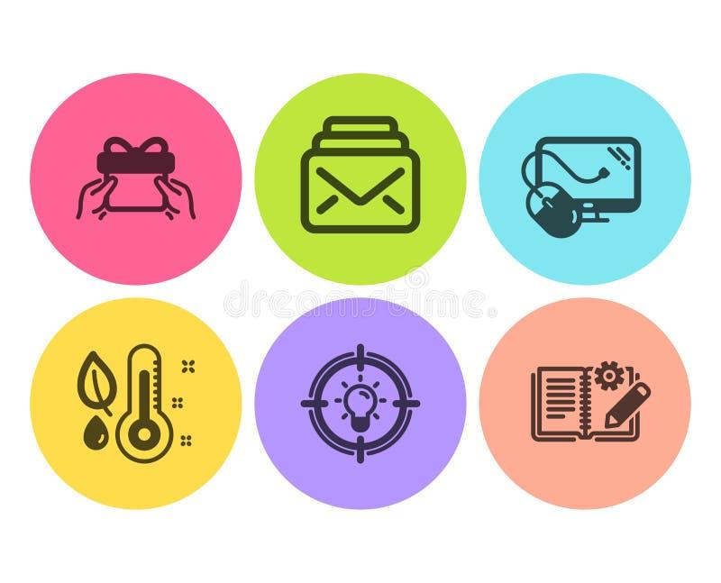 Дайте набор настоящего момента, значков идеи и термометра Мышь почты, компьютера и документация инженерства знаки r иллюстрация вектора