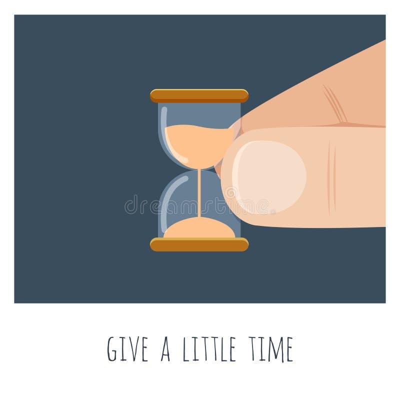 Дайте немного времени большая рука с небольшим временем песка иллюстрация штока