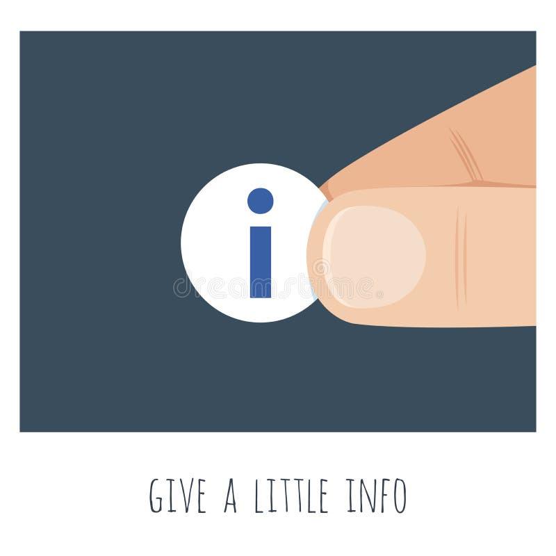 Дайте немного информации Большая рука с небольшим восклицательным синим знаком бесплатная иллюстрация