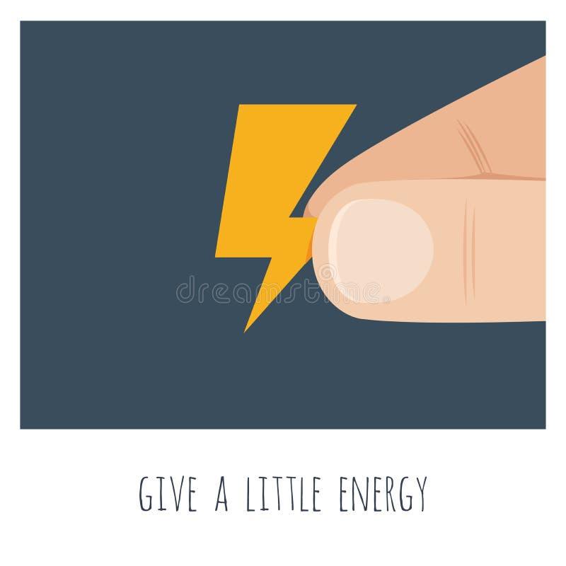 Дайте немного энергии Большая рука с небольшим желтым громом бесплатная иллюстрация