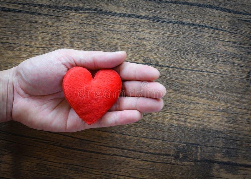 Дайте человека любов держа красное сердце в руках на день Святого Валентина любов подарите помощь дайте тепло любов примите конце стоковая фотография