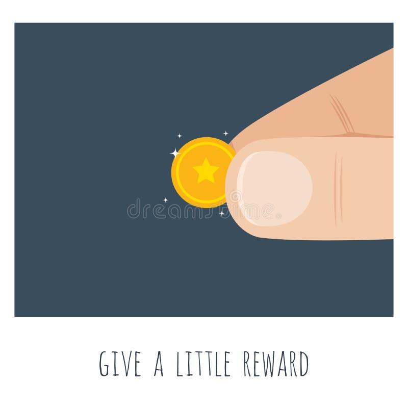 Дай немного денег Большая рука с золотой монетой иллюстрация вектора