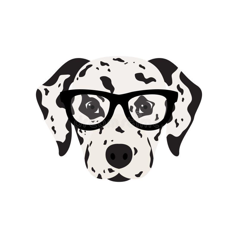 Далматинская собака в стеклах иллюстрация вектора