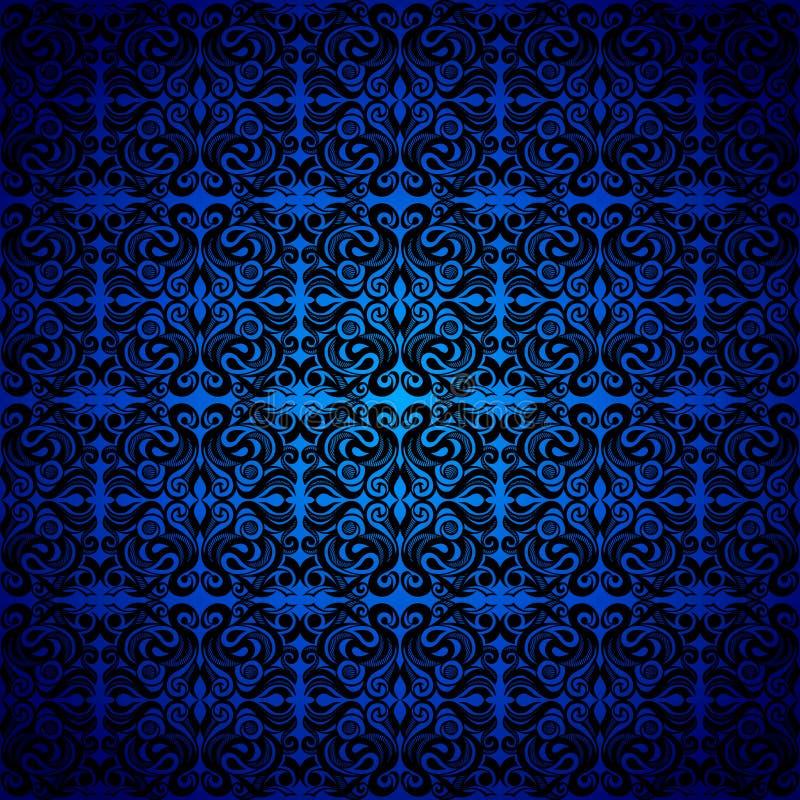 Дамаск, черная безшовная картина, голубая неоклассическо бесплатная иллюстрация