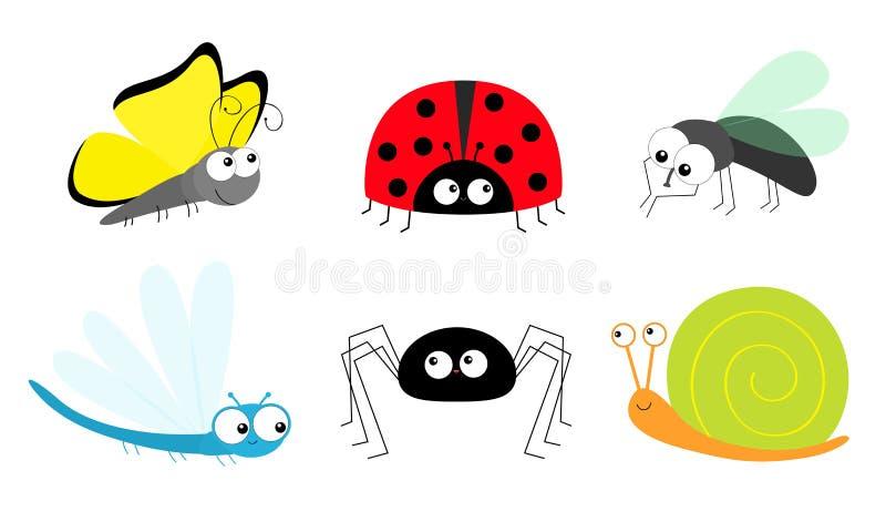 Дама бабочки прослушивает ladybird летает набор значка насекомого Dragonfly улитки паука мухы комнатной Собрание детей младенца М иллюстрация штока