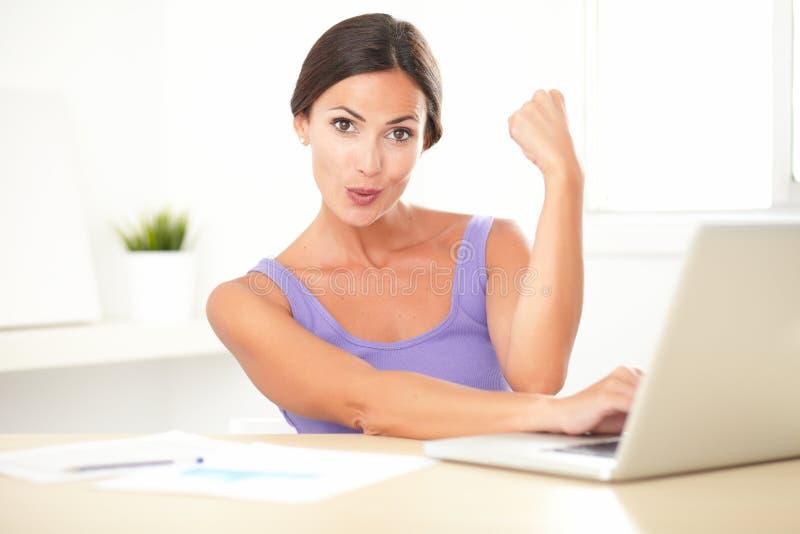 Дама брюнет удовлетворенная работая на ее компьютере стоковые изображения rf