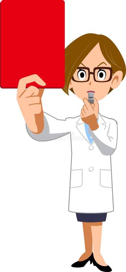 Дама в белом пальто показывает красную карту бесплатная иллюстрация