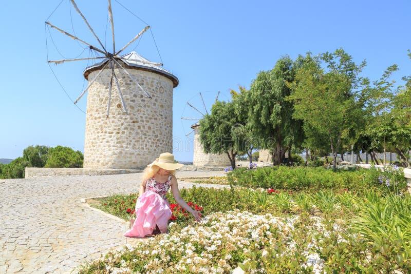 Дама в пинке смотря цветки среди ветрянок в Alacati, Cesme стоковая фотография rf