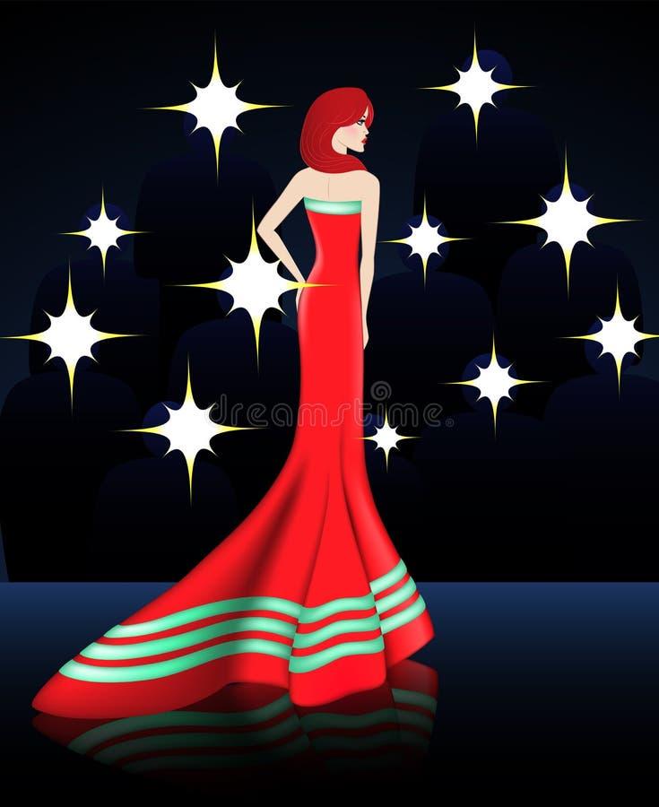 Дама в шикарном красном длинном платье стоковое фото rf
