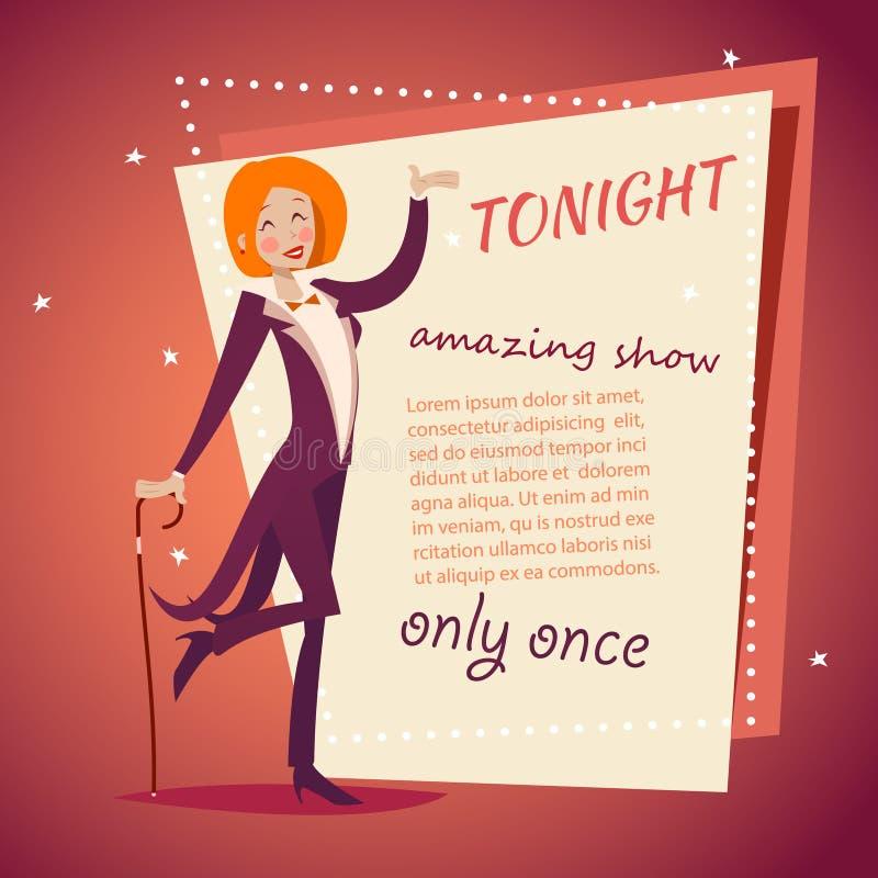 Дама Девушка хозяина выставки цирка в костюме с значком тросточки бесплатная иллюстрация