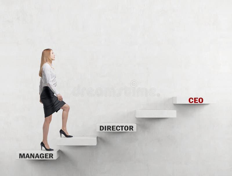 Дама дела идет вверх корпоративная лестница от менеджера к главному исполнительному директору Конкретная предпосылка стоковое фото rf