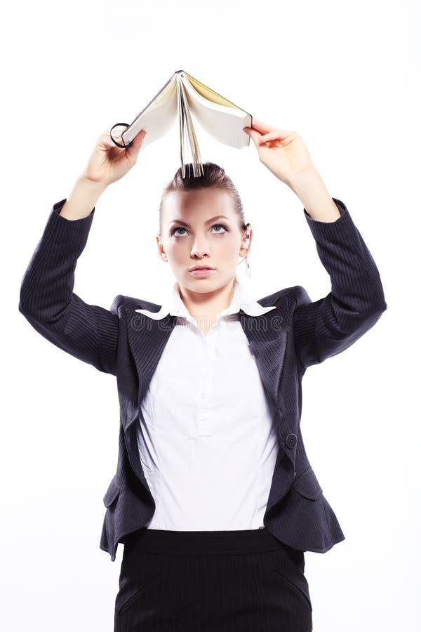 Дама дела с ежедневным плановиком стоковое фото rf
