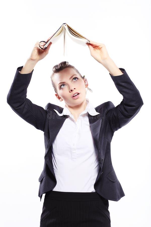 Дама дела с ежедневным плановиком стоковое изображение