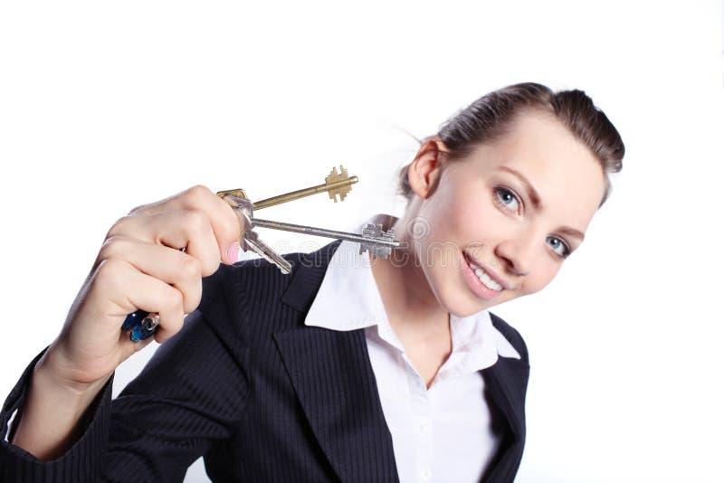 Дама дела с ключами стоковые изображения