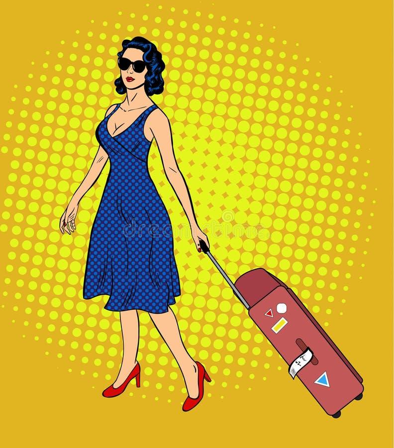 Дама искусства шипучки с багажем иллюстрация вектора