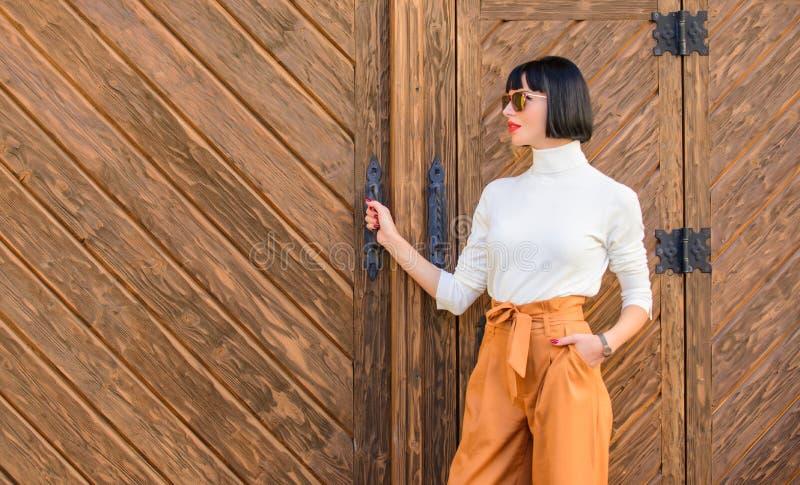 Дама модного обмундирования тонкая высокорослая концепция моды и стиля Прогулка женщины в элегантном обмундировании Брюнет женщин стоковые изображения rf