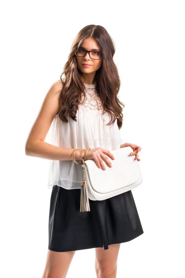 Дама носит блузку с вставкой стоковая фотография