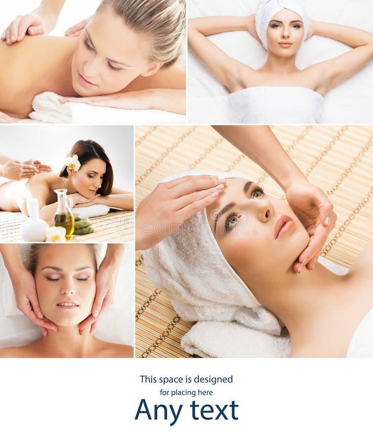 Дама получая процедуры спа Различные изображения женщин ослабляя во спа Здоровье, воссоздание и массажировать терапия стоковая фотография