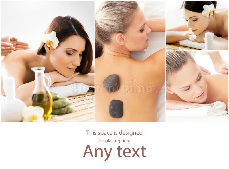 Дама получая процедуры спа Различные изображения женщин ослабляя во спа Здоровье, воссоздание и массажировать терапия стоковое фото