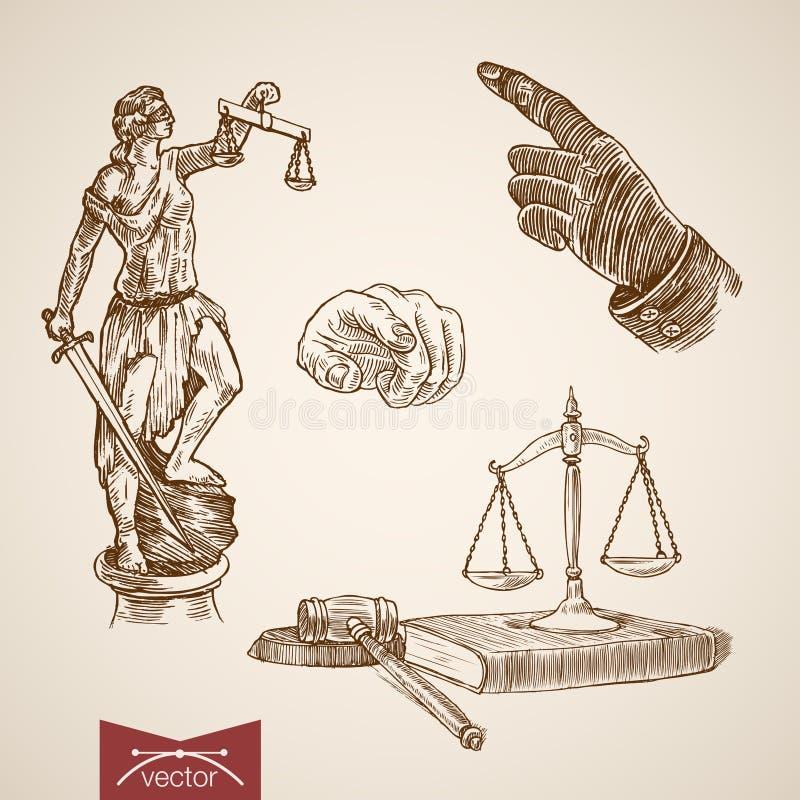 Дама правосудия Themis закона законная вычисляет по маcштабу вектор года сбора винограда гравировки бесплатная иллюстрация