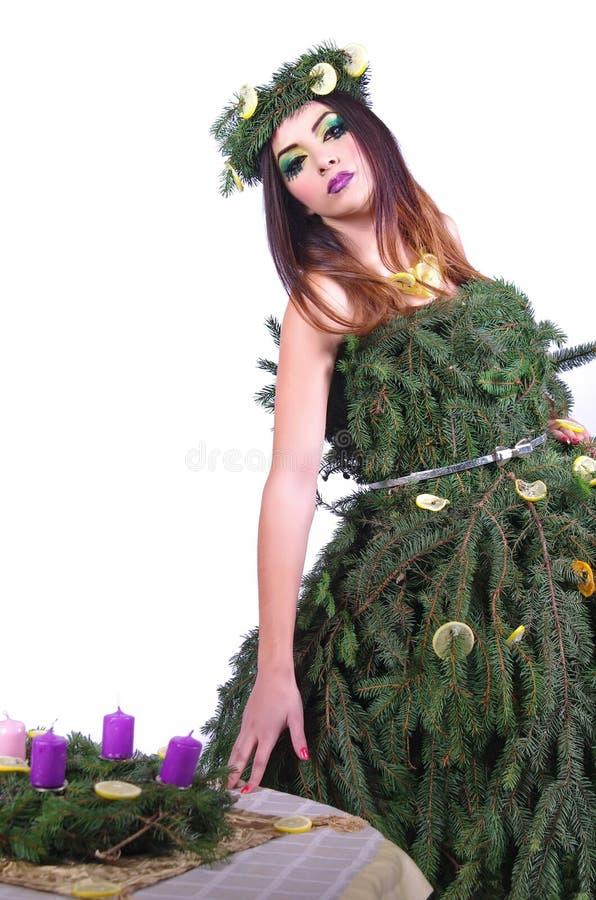Дама С Пришествие Венок 2 рождества модельная стоковая фотография rf
