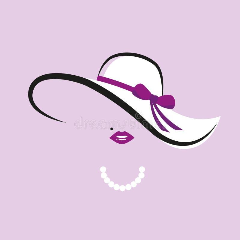 Дама с элегантной шляпой с пурпурным ожерельем смычка и жемчуга иллюстрация вектора