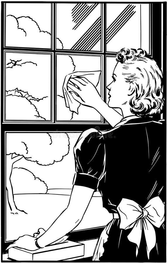 Дама Чистка Окно иллюстрация вектора