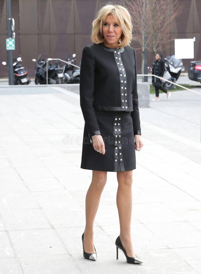 Дама Brigitte Macron француза первая стоковое изображение