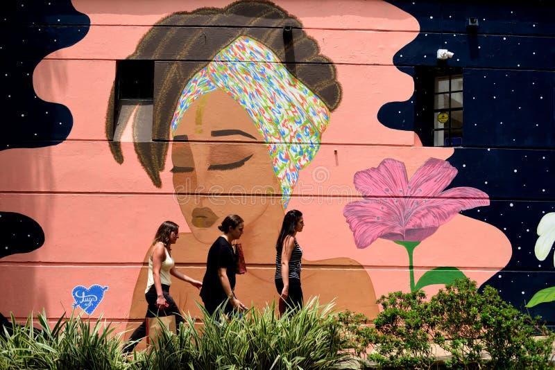 3 дамы идя за красочной настенной росписью в Колумбии стоковые фото