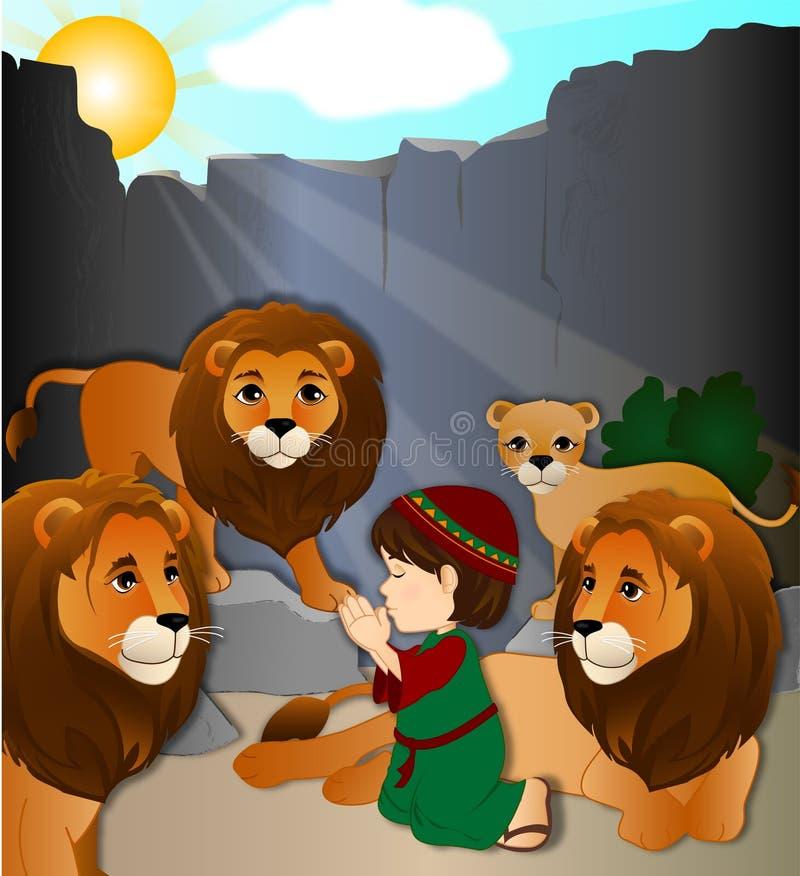 Даниель в вертепе льва иллюстрация вектора