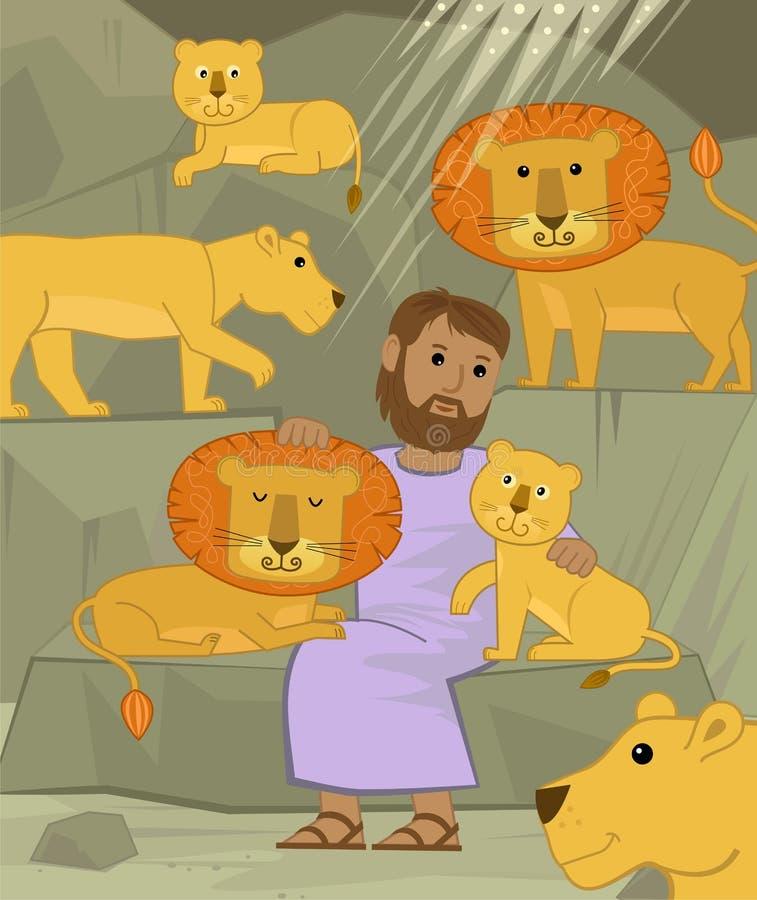 Даниель с львами иллюстрация вектора