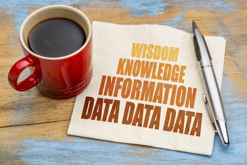 Данные, информация, знание и премудрость - концепция салфетки стоковое фото