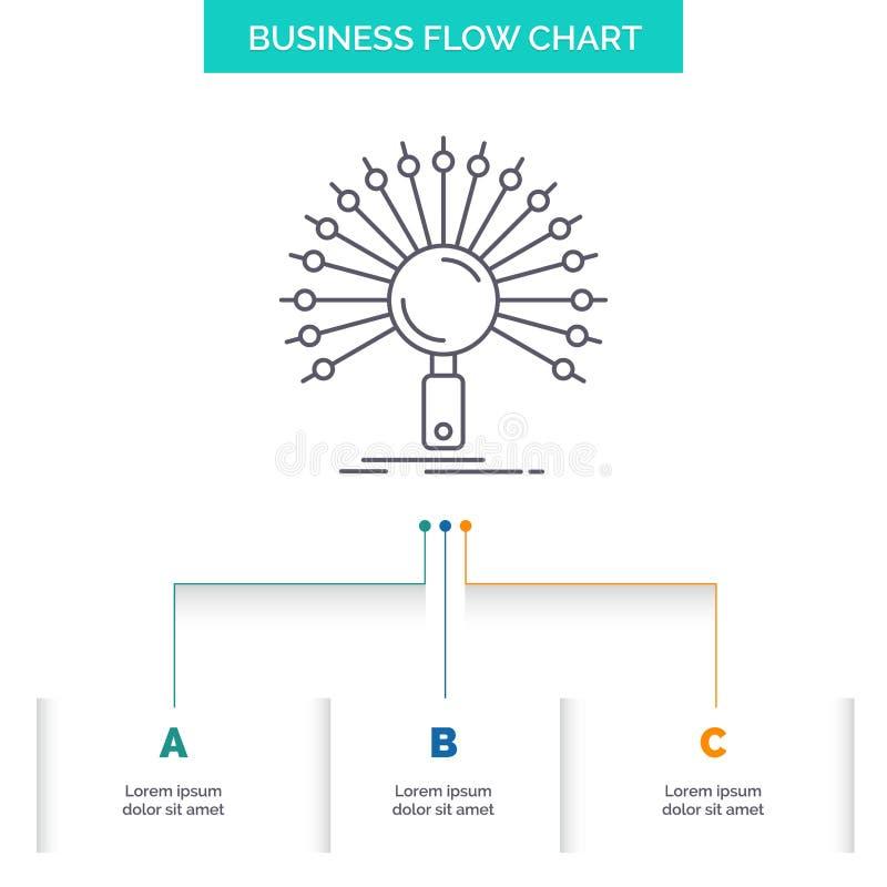 Данные, информация, информационная, сеть, дизайн графика течения дела возвращения с 3 шагами Линия значок для представления бесплатная иллюстрация